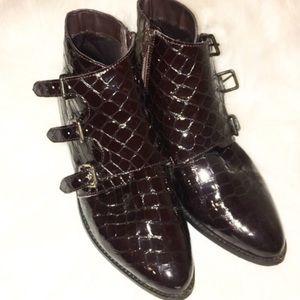 Asos High shine snake skin textured Ankle boot